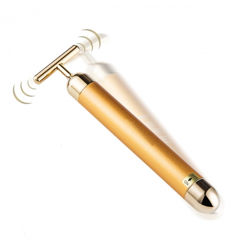 Golden 24k Beauty Bar Vibrating Facial Massager for Face Lifting With Ergonomic T-Shaped Bar